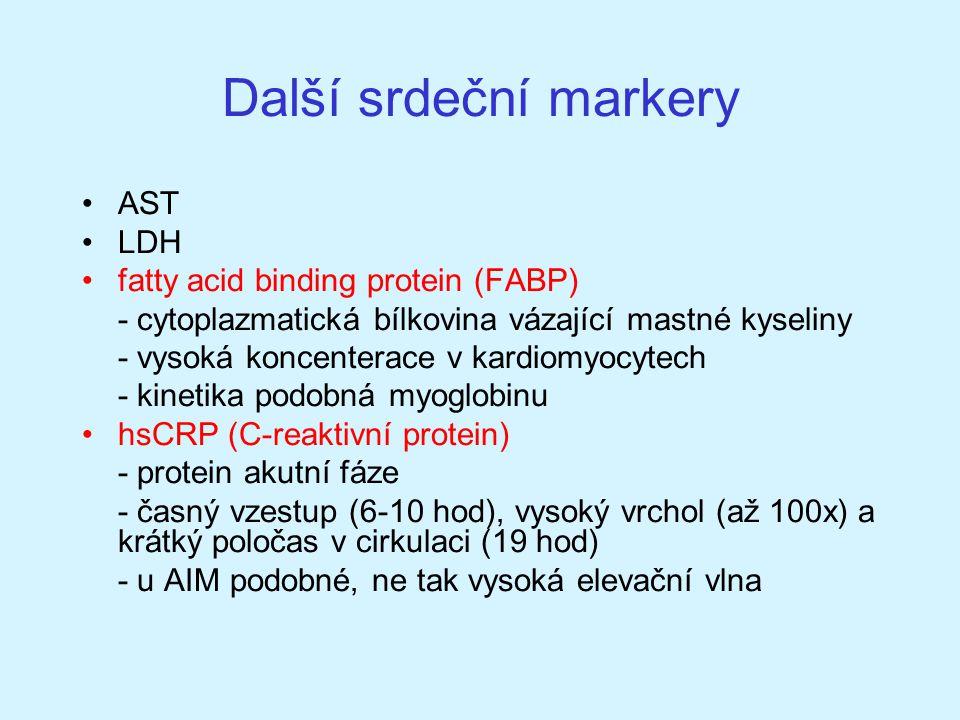 Další srdeční markery AST LDH fatty acid binding protein (FABP) - cytoplazmatická bílkovina vázající mastné kyseliny - vysoká koncenterace v kardiomyo
