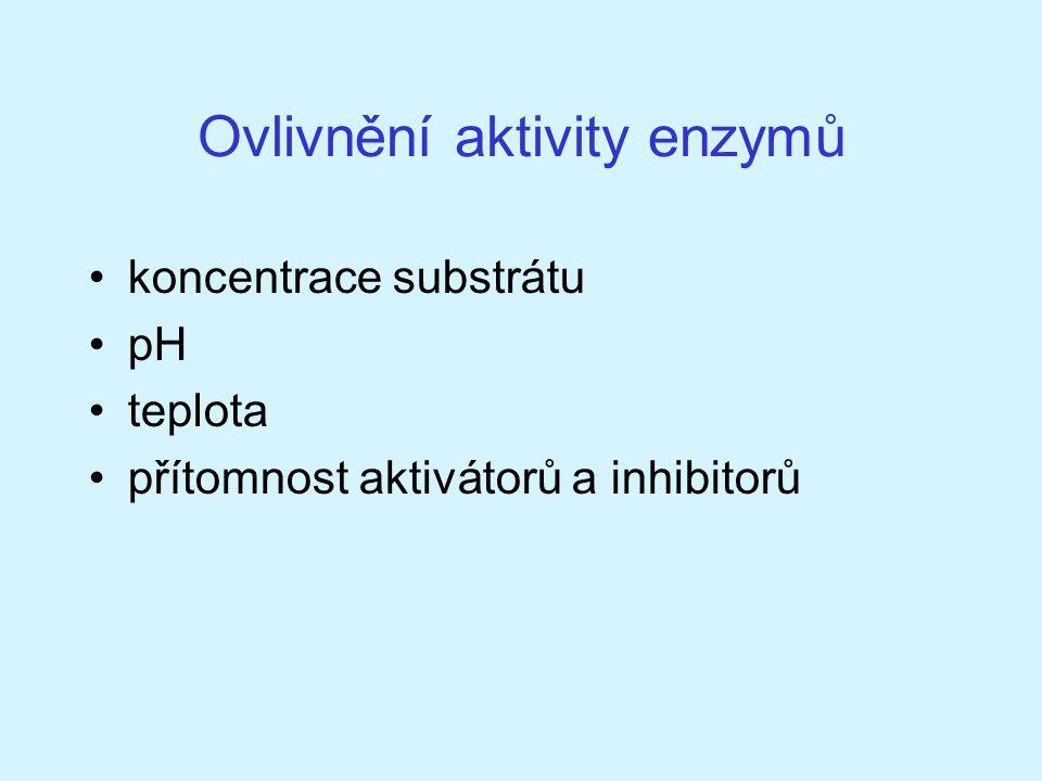 Ovlivnění aktivity enzymů koncentrace substrátu pH teplota přítomnost aktivátorů a inhibitorů