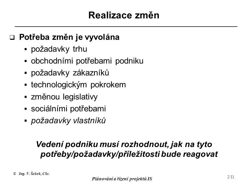 © Ing. V. Šebek, CSc. Plánování a řízení projektů IS 2/11 Realizace změn  Potřeba změn je vyvolána  požadavky trhu  obchodními potřebami podniku 