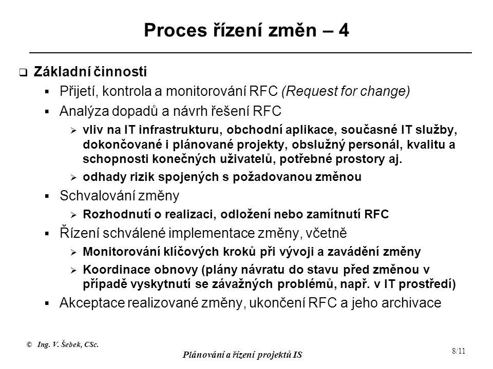 © Ing. V. Šebek, CSc. Plánování a řízení projektů IS 8/11 Proces řízení změn – 4  Základní činnosti  Přijetí, kontrola a monitorování RFC (Request f