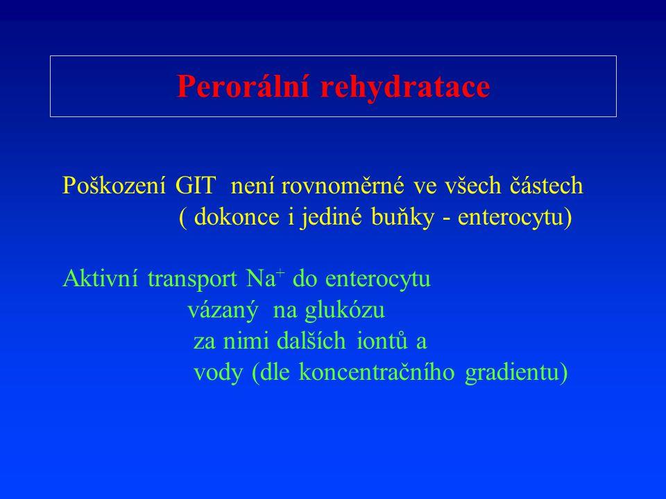 Perorální rehydratace Poškození GIT není rovnoměrné ve všech částech ( dokonce i jediné buňky - enterocytu) Aktivní transport Na + do enterocytu vázan