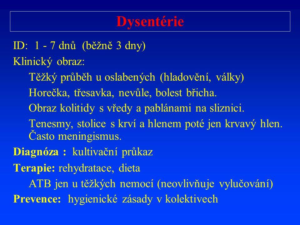 Dysentérie ID: 1 - 7 dnů ( běžně 3 dny) Klinický obraz: T ěž ký pr ů b ě h u oslabených (hladov ě ní, války) Hore č ka, t ř esavka, nev ů le, bolest b