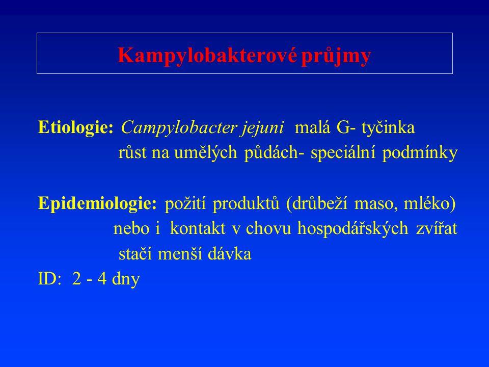 Kampylobakterové průjmy Etiologie: Campylobacter jejuni malá G- tyčinka růst na umělých půdách- speciální podmínky Epidemiologie: požití produktů (drů