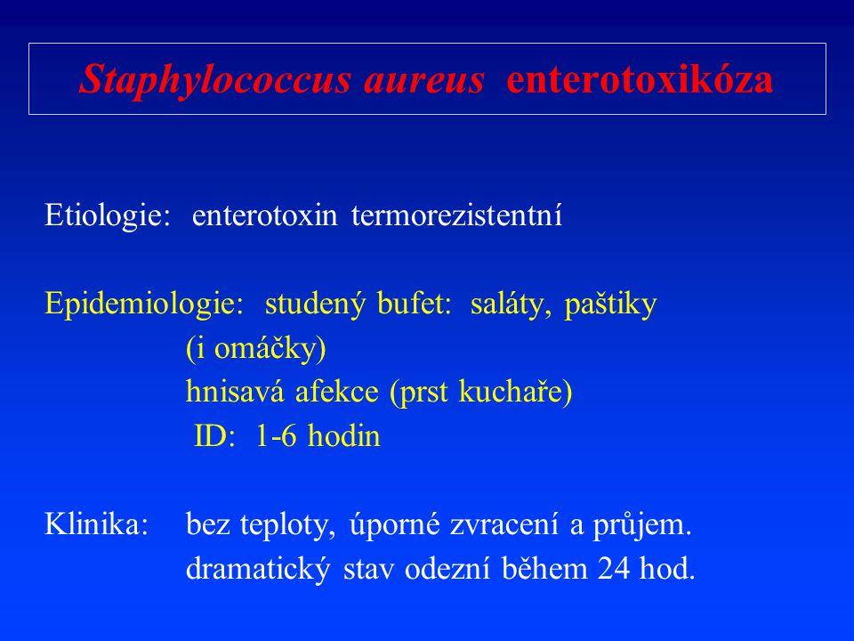 Staphylococcus aureus enterotoxikóza Etiologie: enterotoxin termorezistentní Epidemiologie: studený bufet: saláty, paštiky (i omáčky) hnisavá afekce (