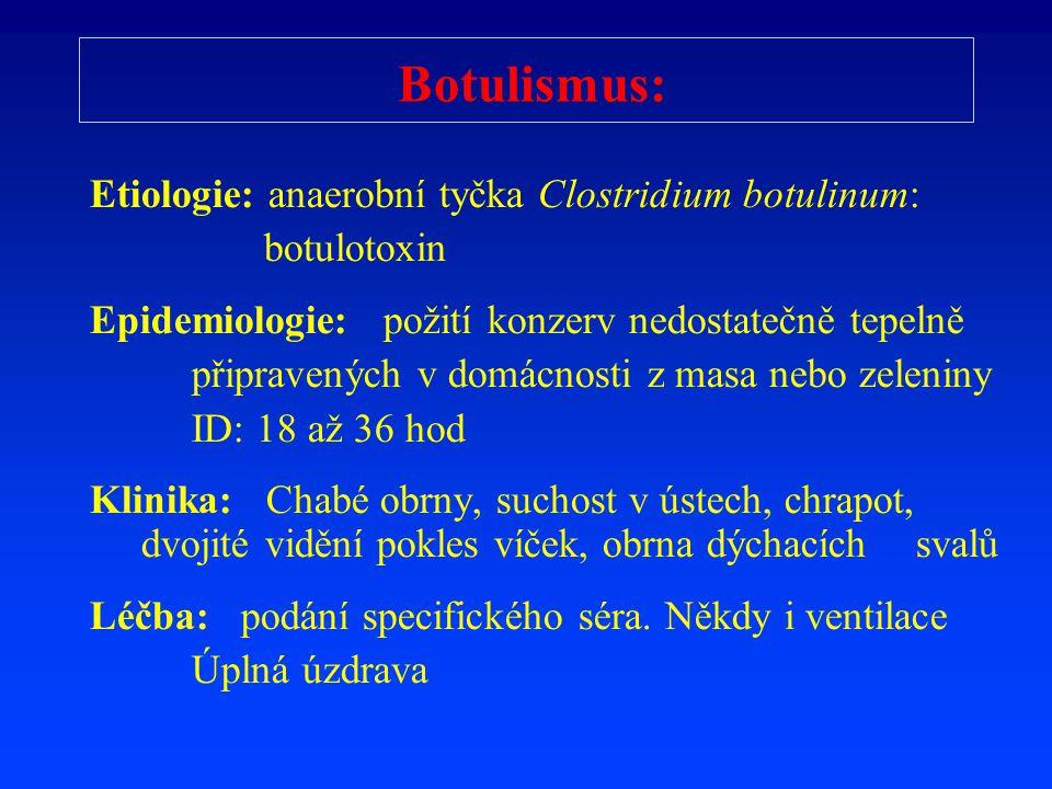 Botulismus: Etiologie: anaerobní tyčka Clostridium botulinum: botulotoxin Epidemiologie: požití konzerv nedostatečně tepelně připravených v domácnosti