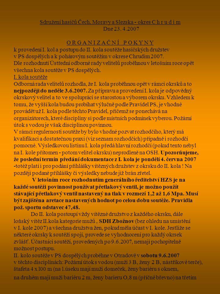 Sdružení hasičů Čech, Moravy a Slezska - okres C h r u d i m Dne 23. 4.2007 O R G A N I Z A Č N Í P O K Y N Y k provedení I. kol a postupu do II. kola