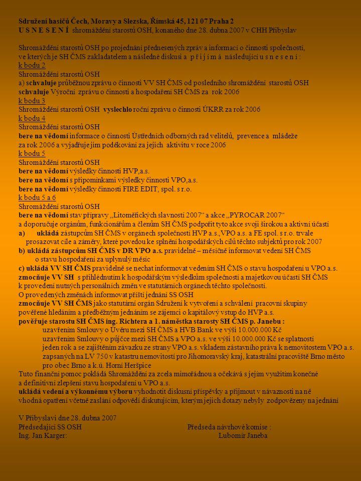 Sdružení hasičů Čech, Moravy a Slezska, Římská 45, 121 07 Praha 2 U S N E S E N Í shromáždění starostů OSH, konaného dne 28. dubna 2007 v CHH Přibysla
