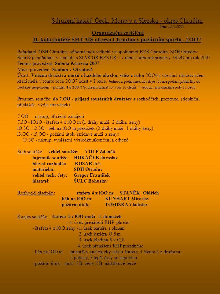 Sdružení hasičů Čech, Moravy a Slezska - okres Chrudim Dne 22.4.2007 Organizační zajištění II. kola soutěže SH ČMS okresu Chrudim v požárním sportu -