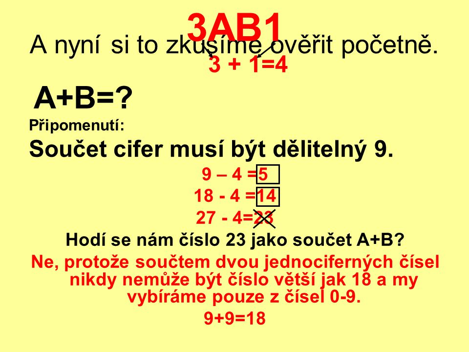 A nyní si to zkusíme ověřit početně. 3AB1 3 + 1=4 A+B=? Připomenutí: Součet cifer musí být dělitelný 9. 9 – 4 =5 18 - 4 =14 27 - 4=23 Hodí se nám čísl