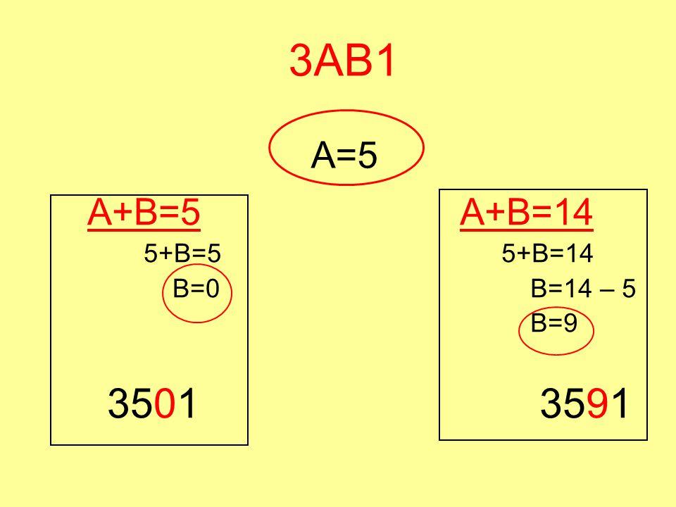 3AB1 A=5 A+B=5 5+B=5 B=0 3501 A+B=14 5+B=14 B=14 – 5 B=9 3591
