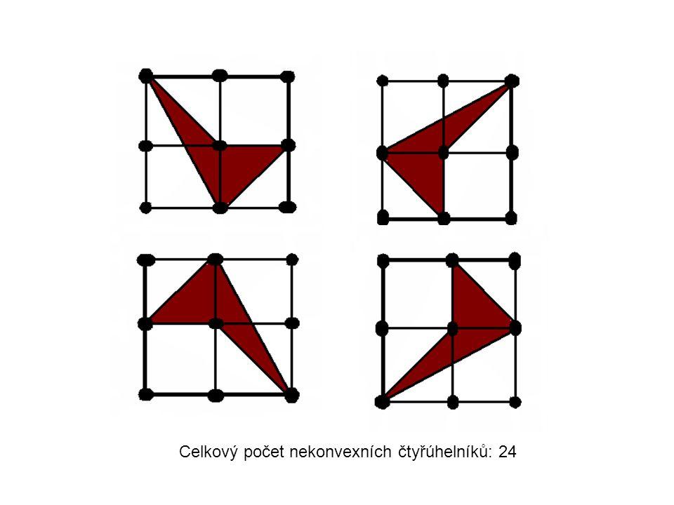 Celkový počet nekonvexních čtyřúhelníků: 24