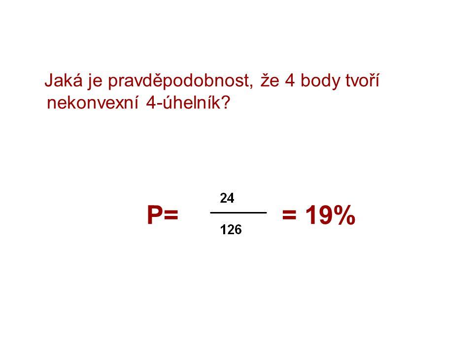 Jaká je pravděpodobnost, že 4 body tvoří nekonvexní 4-úhelník? P= = 19%