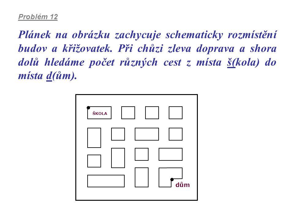 Plánek na obrázku zachycuje schematicky rozmístění budov a křižovatek. Při chůzi zleva doprava a shora dolů hledáme počet různých cest z místa š(kola)