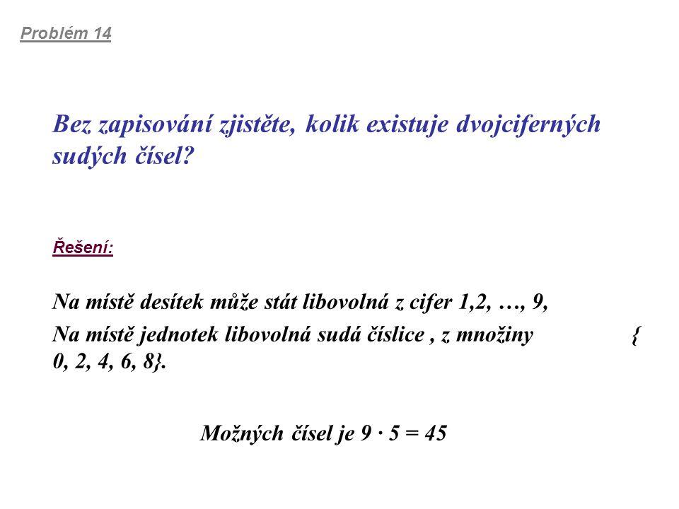 Problém 14 Bez zapisování zjistěte, kolik existuje dvojciferných sudých čísel? Řešení: Na místě desítek může stát libovolná z cifer 1,2, …, 9, Na míst