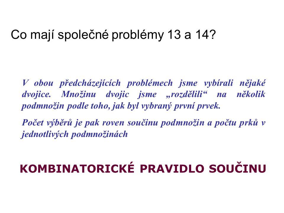 """Co mají společné problémy 13 a 14? V obou předcházejících problémech jsme vybírali nějaké dvojice. Množinu dvojic jsme """"rozdělili"""" na několik podmnoži"""