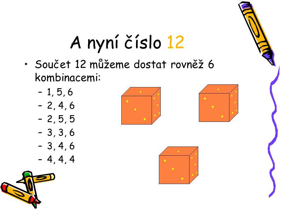 A nyní číslo 12 Součet 12 můžeme dostat rovněž 6 kombinacemi: –1, 5, 6 –2, 4, 6 –2, 5, 5 –3, 3, 6 –3, 4, 6 –4, 4, 4