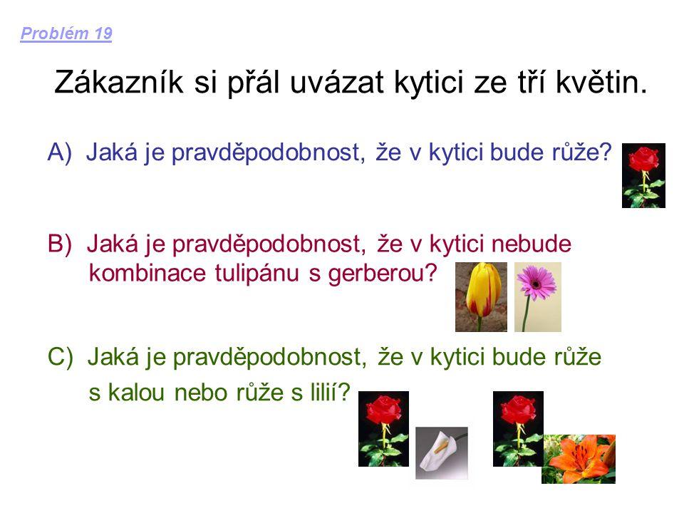 Zákazník si přál uvázat kytici ze tří květin. A) Jaká je pravděpodobnost, že v kytici bude růže? B) Jaká je pravděpodobnost, že v kytici nebude kombin
