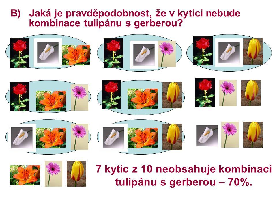 B) Jaká je pravděpodobnost, že v kytici nebude kombinace tulipánu s gerberou? 7 kytic z 10 neobsahuje kombinaci tulipánu s gerberou – 70%.