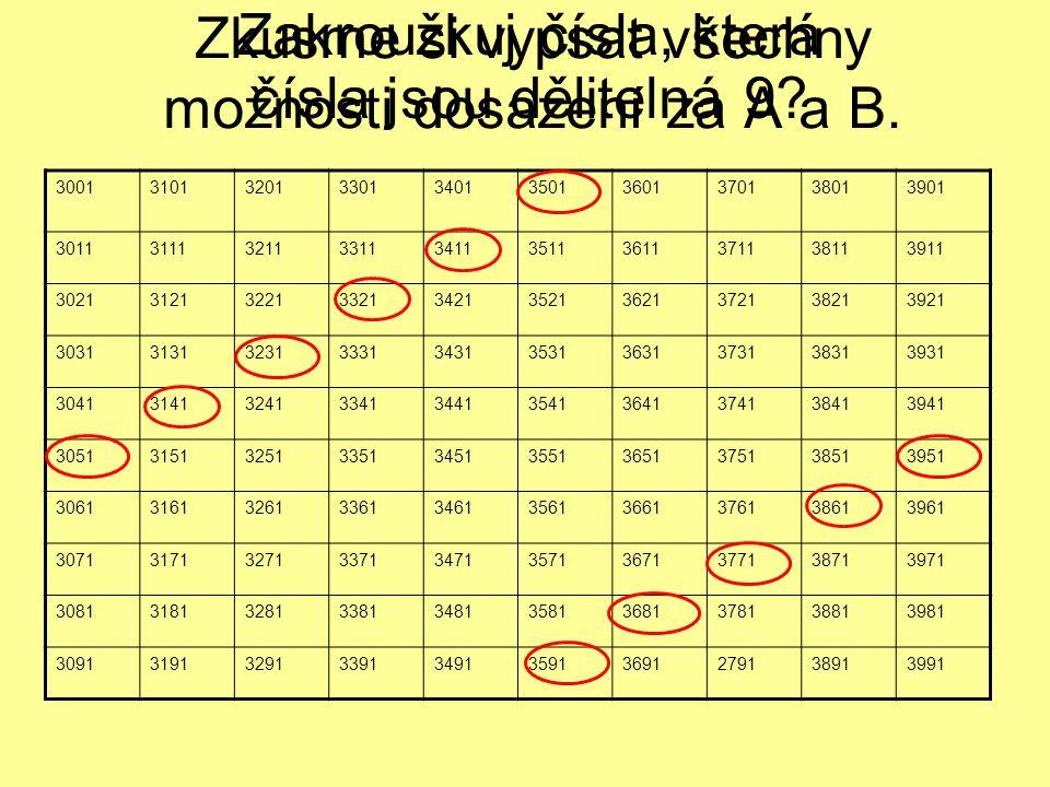 Zkusme si vypsat všechny možnosti dosazení za A a B. Zakroužkuj čísla, která čísla jsou dělitelná 9? 3001310132013301340135013601370138013901 30113111