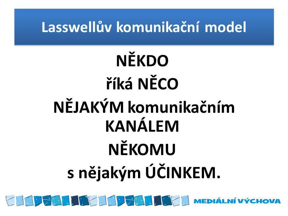 Lasswellův komunikační model NĚKDO říká NĚCO NĚJAKÝM komunikačním KANÁLEM NĚKOMU s nějakým ÚČINKEM.