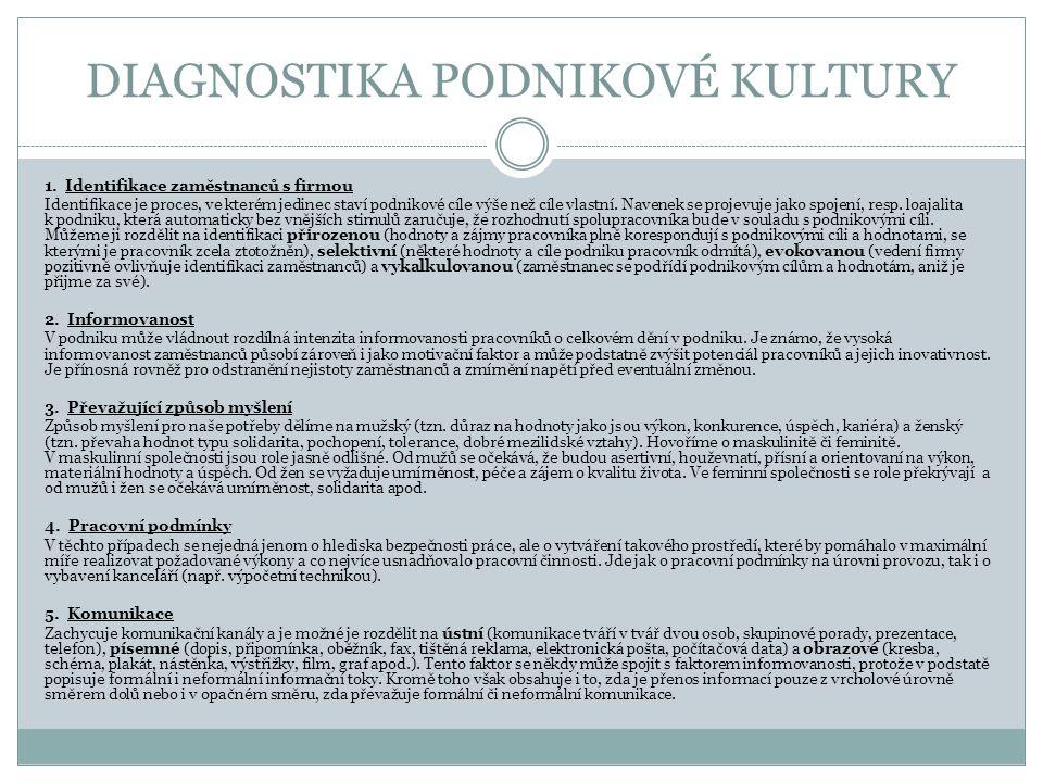 DIAGNOSTIKA PODNIKOVÉ KULTURY 1.