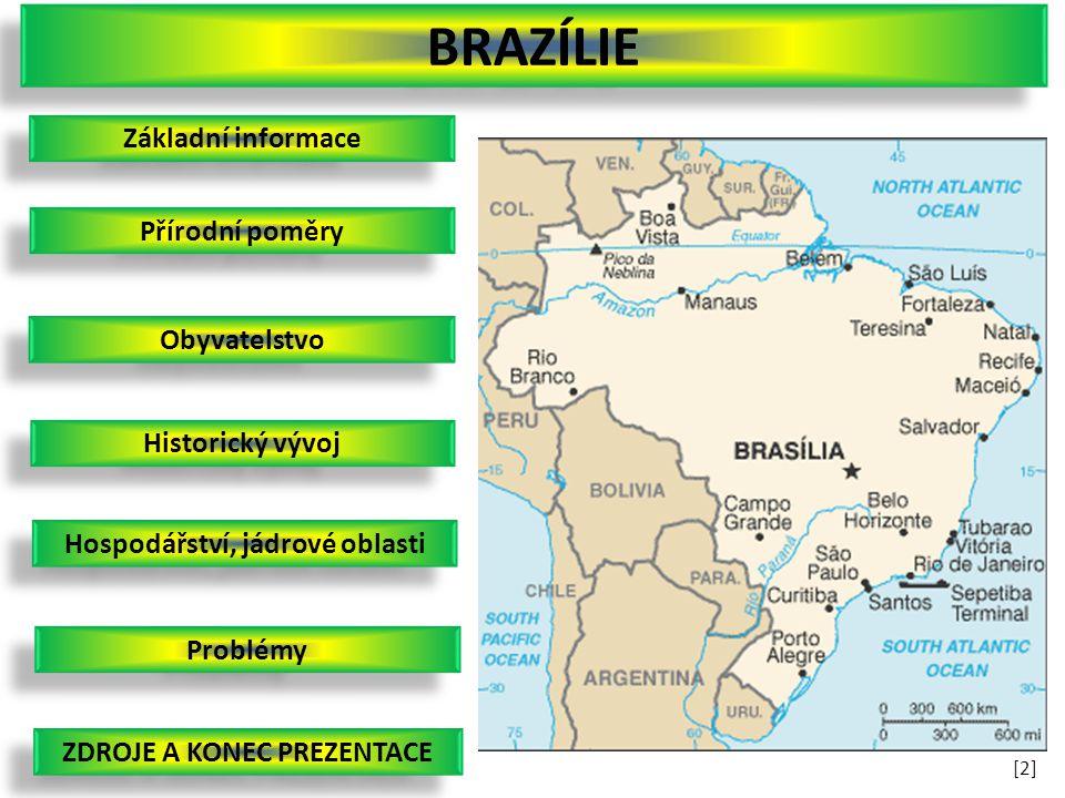 Základní informace Obyvatelstvo Přírodní poměry Historický vývoj Hospodářství, jádrové oblasti Problémy BRAZÍLIE ZDROJE A KONEC PREZENTACE [2][2]