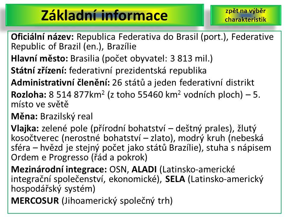 Základní informace Oficiální název: Republica Federativa do Brasil (port.), Federative Republic of Brazil (en.), Brazílie Hlavní město: Brasilia (poče