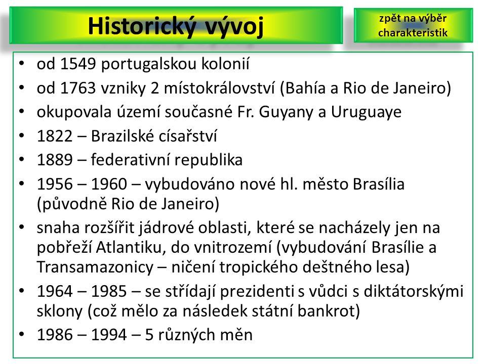 Historický vývoj od 1549 portugalskou kolonií od 1763 vzniky 2 místokrálovství (Bahía a Rio de Janeiro) okupovala území současné Fr. Guyany a Uruguaye