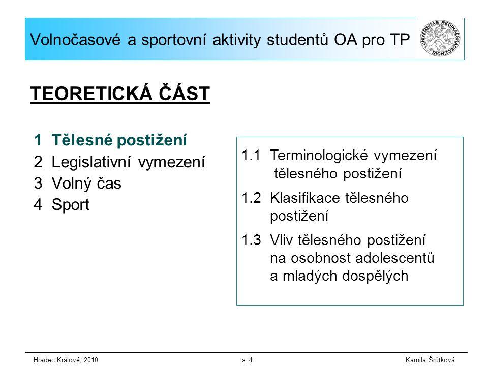 1Tělesné postižení 2 Legislativní vymezení 3 Volný čas 4 Sport Hradec Králové, 2010 s.