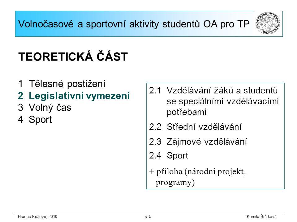 1 Tělesné postižení 2 Legislativní vymezení 3 Volný čas 4 Sport Hradec Králové, 2010 s.
