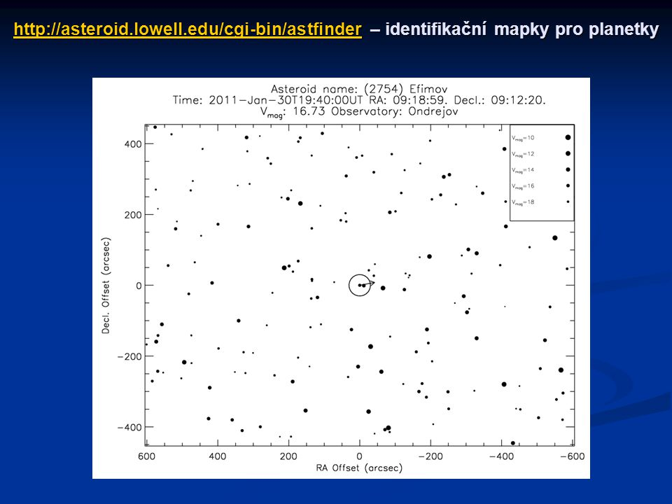 http://asteroid.lowell.edu/cgi-bin/astfinderhttp://asteroid.lowell.edu/cgi-bin/astfinder– identifikační mapky pro planetky http://asteroid.lowell.edu/