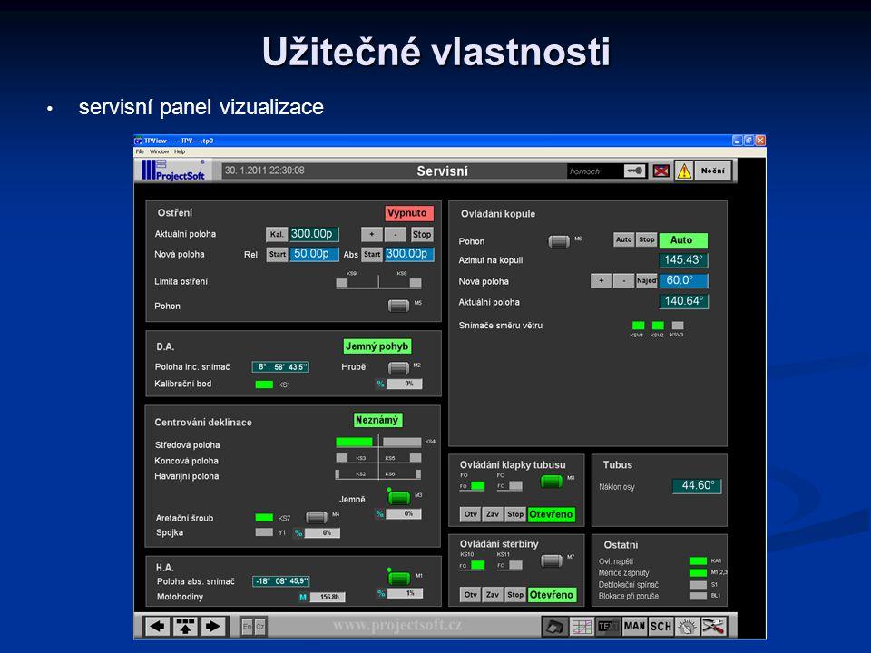 Užitečné vlastnosti   servisní panel vizualizace