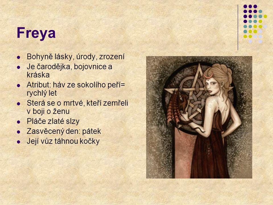 Freya Bohyně lásky, úrody, zrození Je čarodějka, bojovnice a kráska Atribut: háv ze sokolího peří= rychlý let Sterá se o mrtvé, kteří zemřeli v boji o