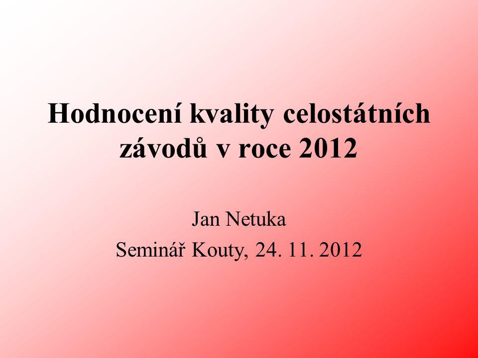 Hodnocení kvality celostátních závodů v roce 2012 Jan Netuka Seminář Kouty, 24. 11. 2012