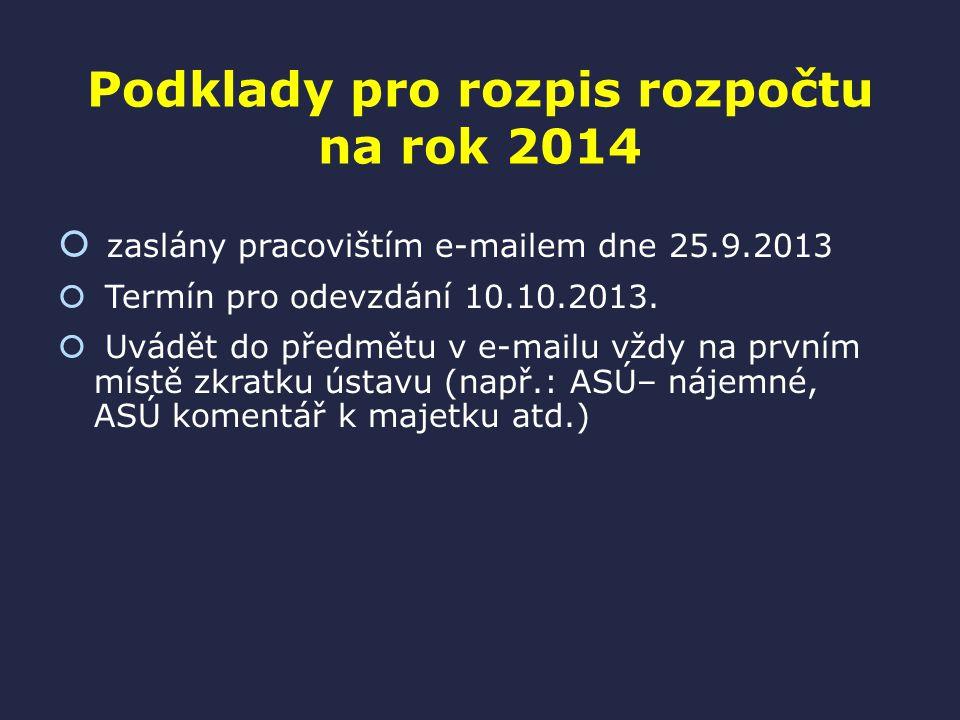 Podklady pro rozpis rozpočtu na rok 2014  zaslány pracovištím e-mailem dne 25.9.2013  Termín pro odevzdání 10.10.2013.