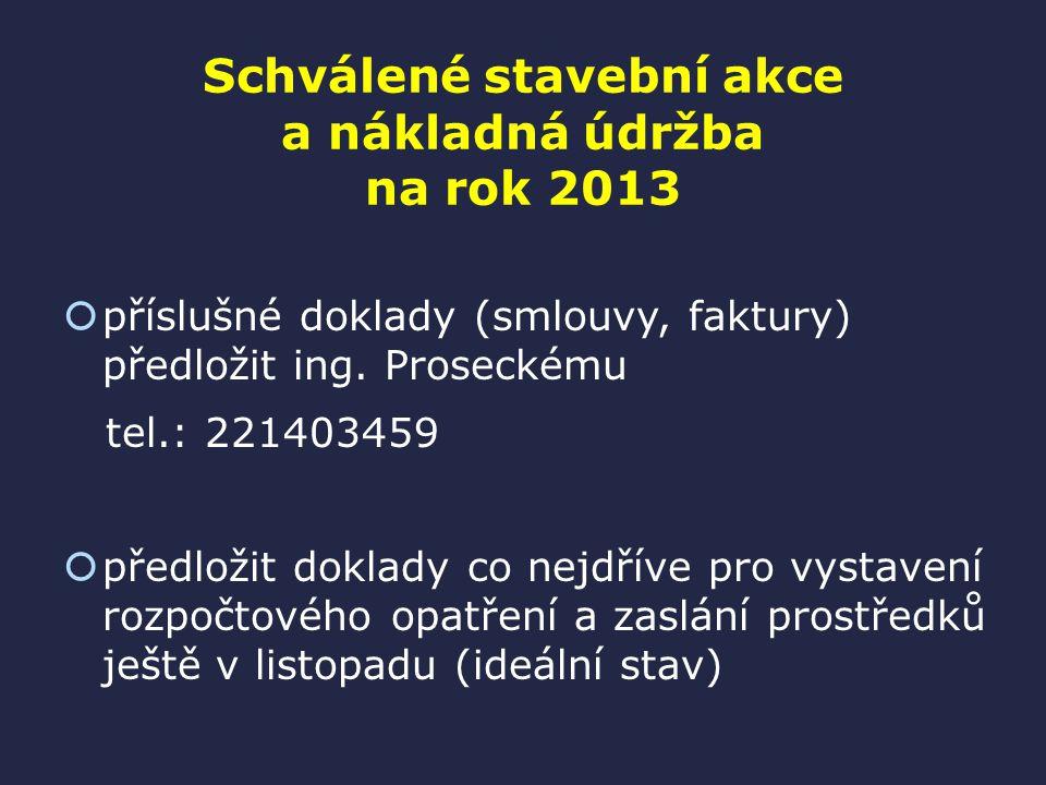 Schválené stavební akce a nákladná údržba na rok 2013  příslušné doklady (smlouvy, faktury) předložit ing.