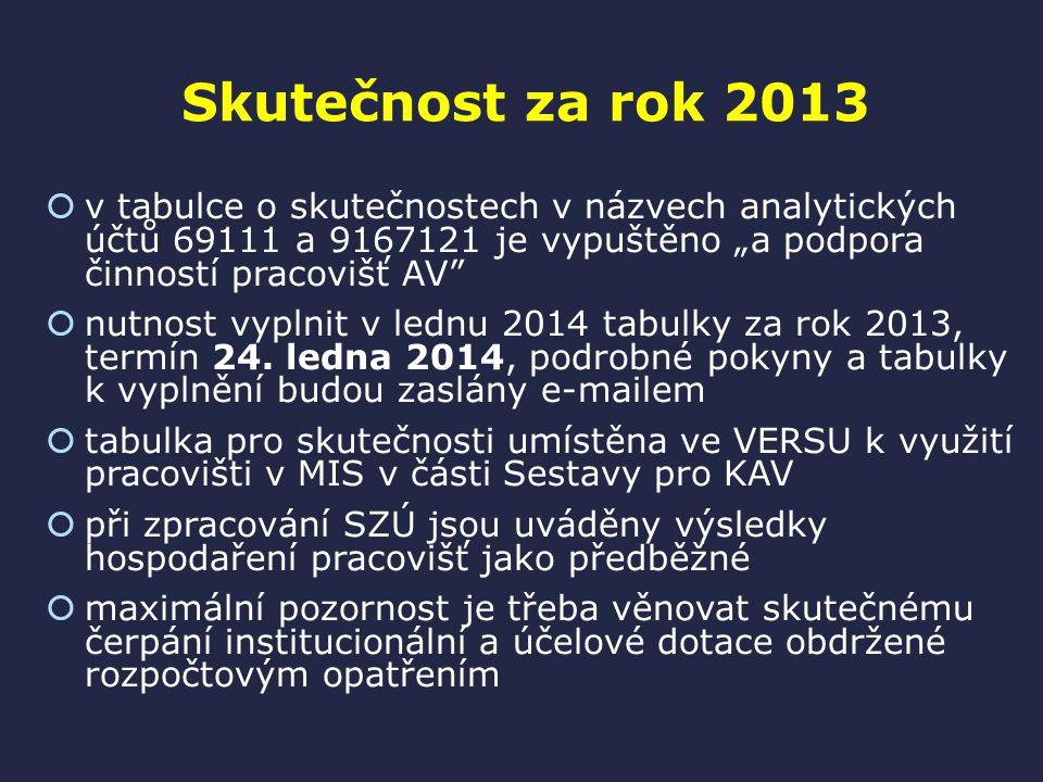 """Skutečnost za rok 2013  v tabulce o skutečnostech v názvech analytických účtů 69111 a 9167121 je vypuštěno """"a podpora činností pracovišť AV  nutnost vyplnit v lednu 2014 tabulky za rok 2013, termín 24."""