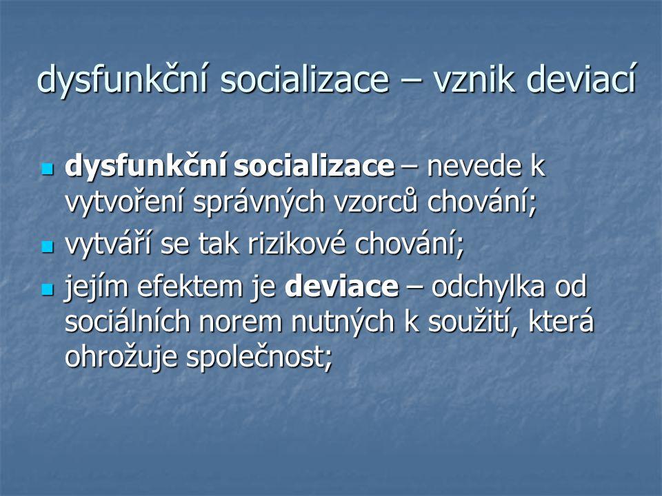 dysfunkční socializace – vznik deviací dysfunkční socializace – nevede k vytvoření správných vzorců chování; dysfunkční socializace – nevede k vytvoře