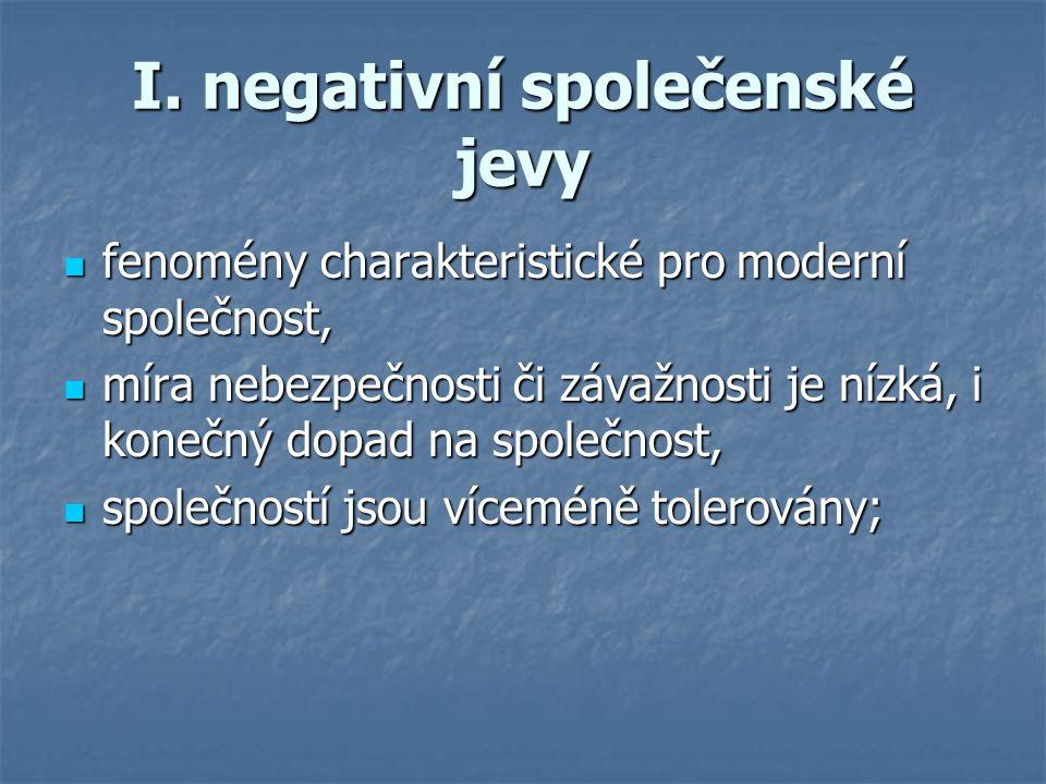 I. negativní společenské jevy fenomény charakteristické pro moderní společnost, fenomény charakteristické pro moderní společnost, míra nebezpečnosti č