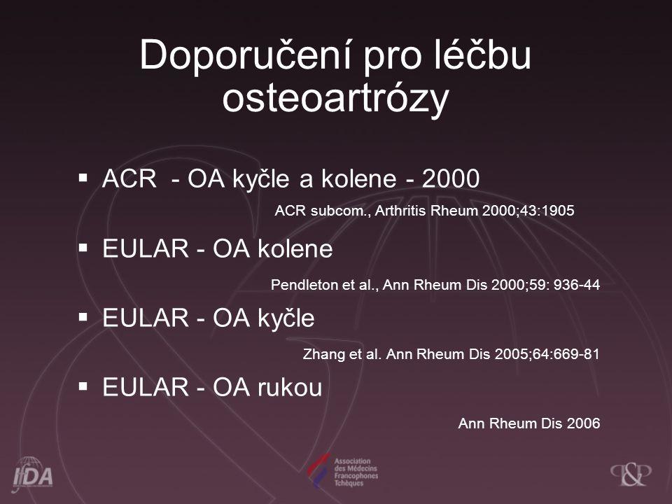 Doporučení pro léčbu osteoartrózy  ACR - OA kyčle a kolene - 2000 ACR subcom., Arthritis Rheum 2000;43:1905  EULAR - OA kolene Pendleton et al., Ann Rheum Dis 2000;59: 936-44  EULAR - OA kyčle Zhang et al.