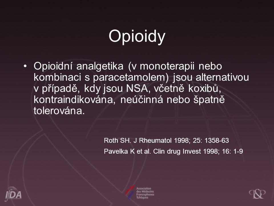 Opioidy Opioidní analgetika (v monoterapii nebo kombinaci s paracetamolem) jsou alternativou v případě, kdy jsou NSA, včetně koxibů, kontraindikována, neúčinná nebo špatně tolerována.
