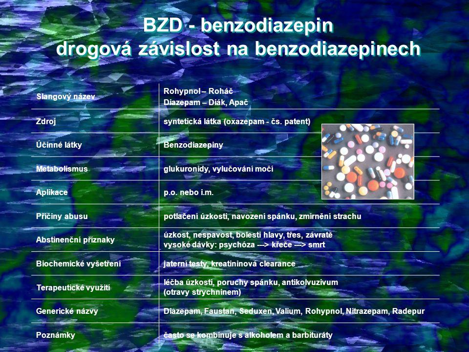 BZD - benzodiazepin drogová závislost na benzodiazepinech BZD - benzodiazepin drogová závislost na benzodiazepinech Slangový název Rohypnol – Roháč Diazepam – Diák, Apač Zdrojsyntetická látka (oxazepam - čs.