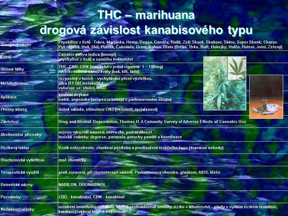 THC – marihuana drogová závislost kanabisového typu THC – marihuana drogová závislost kanabisového typu Slangový název Pryskiřice z listů - Tráva, Marjánka, Hemp, Dagga, Gandža, Roští, Zelí; Skank, Skaňour, Skéro, Super Skank; Charas Pyl – Hašiš, Haš, Shit, Plastik, Čokoláda, Gram, Bahno, Blato (Brčko, Brko, Buřt, Hokejky, Hulčo, Hulení, Joint, Zelený) Zdroj Canabis sativa indica (konopí) pryskyřice z listů a samčího květenství Účinné látky THC, CBD, CBN (množství v jedné cigaretě: 1 – 100mg) HAŠIŠ: sušené samčí květy (haš, kifi, ládo) Metabolismus rozpustný v tucích - vychytávání plicní výstelkou, játra (11 OH metabolity) vylučuje se: stolicí, močí Aplikace kouření žvýkání hašiš: anýzovka (suspenze konopí v parfemovaném sirupu) Příčiny abusudobrá nálada, stimulace CNS (veselost, rozjařenost) ZávislostDrug and Alcohol Dependence, Thomas H.