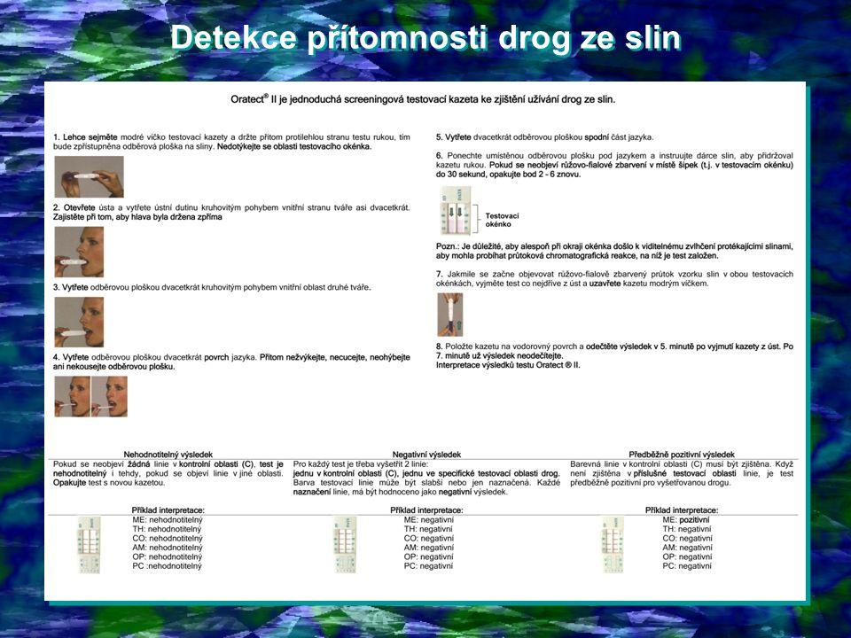 Detekce přítomnosti drog ze slin Detekce přítomnosti drog ze slin