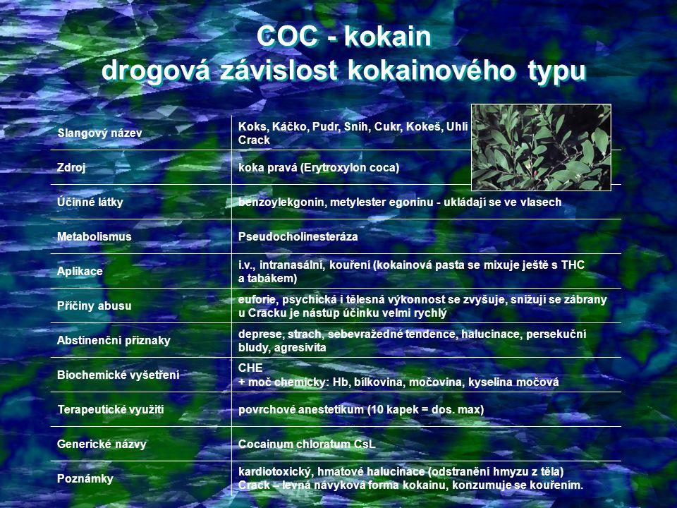 COC - kokain drogová závislost kokainového typu COC - kokain drogová závislost kokainového typu Slangový název Koks, Káčko, Pudr, Sníh, Cukr, Kokeš, Uhlí Crack Zdrojkoka pravá (Erytroxylon coca) Účinné látkybenzoylekgonin, metylester egoninu - ukládají se ve vlasech MetabolismusPseudocholinesteráza Aplikace i.v., intranasální, kouření (kokainová pasta se mixuje ještě s THC a tabákem) Příčiny abusu euforie, psychická i tělesná výkonnost se zvyšuje, snižují se zábrany u Cracku je nástup účinku velmi rychlý Abstinenční příznaky deprese, strach, sebevražedné tendence, halucinace, persekuční bludy, agresivita Biochemické vyšetření CHE + moč chemicky: Hb, bílkovina, močovina, kyselina močová Terapeutické využitípovrchové anestetikum (10 kapek = dos.