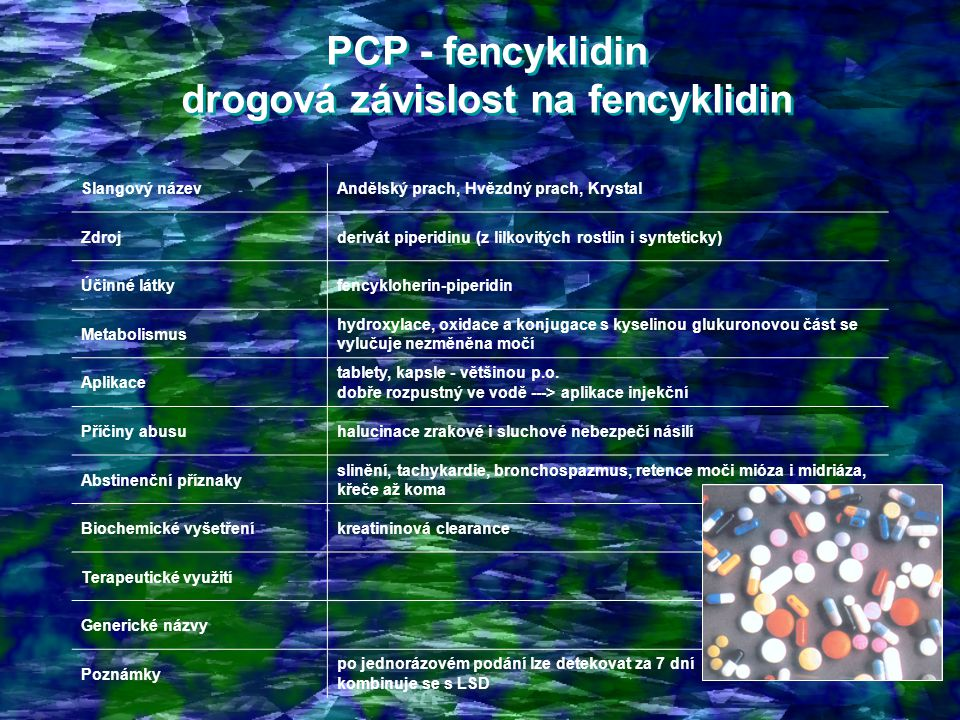 PCP - fencyklidin drogová závislost na fencyklidin PCP - fencyklidin drogová závislost na fencyklidin Slangový názevAndělský prach, Hvězdný prach, Krystal Zdrojderivát piperidinu (z lilkovitých rostlin i synteticky) Účinné látkyfencykloherin-piperidin Metabolismus hydroxylace, oxidace a konjugace s kyselinou glukuronovou část se vylučuje nezměněna močí Aplikace tablety, kapsle - většinou p.o.