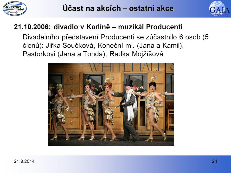 21.8.201424 Účast na akcích – ostatní akce 21.10.2006: divadlo v Karlíně – muzikál Producenti Divadelního představení Producenti se zúčastnilo 6 osob