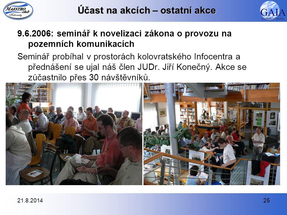 21.8.201425 Účast na akcích – ostatní akce 9.6.2006: seminář k novelizaci zákona o provozu na pozemních komunikacích Seminář probíhal v prostorách kol