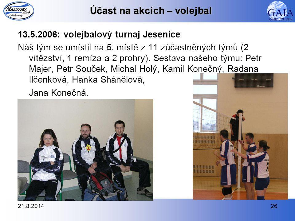 21.8.201426 Účast na akcích – volejbal 13.5.2006: volejbalový turnaj Jesenice Náš tým se umístil na 5. místě z 11 zúčastněných týmů (2 vítězství, 1 re