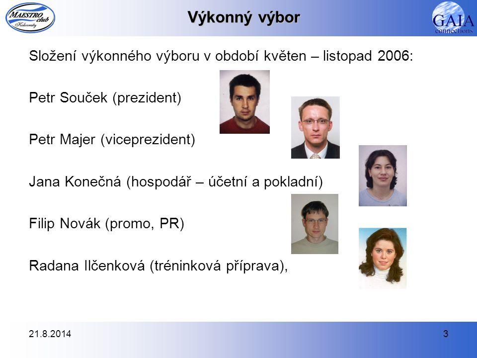21.8.20144 Výkonný výbor Výbor se v tomto období sešel na 9 výborových schůzích: 10.4.2006, 13.5.2006, 22.6.2006, 2.8.2006, 28.8.2006, 23.9.2006, 4.10.2006, 6.11.2006, 4.12.2006.